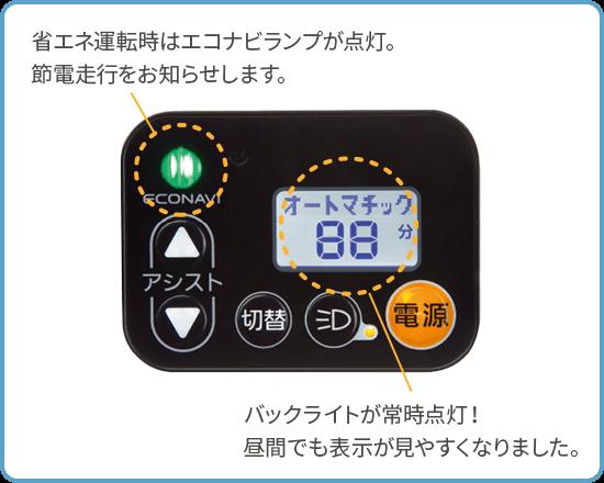 省エネ運転時はエコナビランプが点灯。節電走行をお知らせします。バックライトが常時点灯!昼間でも表示が見やすくなりました。