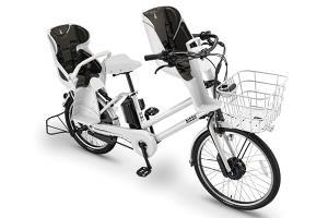 E.XBKホワイト/3人乗り用チャイルドシート付きbikke GRI dd -2019・2020モデル-[内装3段変速][クラス27キャリア][3人乗り対応]