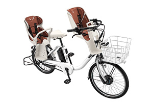 E.XBKホワイト/3人乗り用チャイルドシート付きbikke MOB dd -2019・2020モデル-[内装3段変速][20インチ][クラス27キャリア]