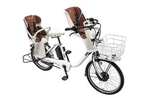 E.XBKホワイト(2020モデル)/3人乗り用チャイルドシート付きbikke MOB dd -2019・2020モデル-[内装3段変速][20インチ][クラス27キャリア]