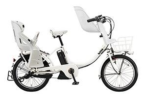 E.XBKホワイト/3人乗り用チャイルドシート付きbikke MOB e-2018モデル-[内装3段変速][20インチ][クラス27キャリア]