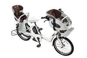 E.BKホワイト(2019早期)/3人乗り用チャイルドシート付きbikke POLAR e -2019モデル-[内装3段変速][20インチ][3人乗り対応]