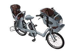 E.BKブルーグレー(2019早期)/3人乗り用チャイルドシート付きbikke POLAR e -2019モデル-[内装3段変速][20インチ][3人乗り対応]