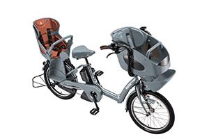 E.BKブルーグレー/3人乗り用チャイルドシート付きbikke POLAR e -2019モデル-[内装3段変速][20インチ][3人乗り対応]
