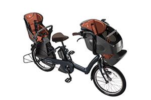 T.レトロブルー/3人乗り用チャイルドシート付きbikke POLAR e -2019モデル-[内装3段変速][20インチ][3人乗り対応]
